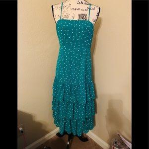 Nellie Green Polka Dot Ruffled Midi Dress